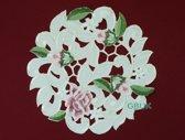 Tafelkleed - Opengewerk met roze bloem - Rond 20 cm - 7662-RSZ