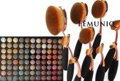 Femuniq - 10 Oval Brush Makeup Kwast + 120 Oogschaduw Palette Kit - Eyeshadow Palet - Geschenk Set - Cadeau voor Vrouwen en Meisjes