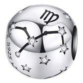 Zilveren bedel Astrologie - Horoscoop | Bedel Sterrenbeeld Maagd | Bedels Charms Beads | 925 sterling silver | net zo waardevol als pandora maar dan goedkoop | direct snel leverbaar | Tracelet |