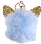 Lg-imports Fluffy Sleutelhanger Met Kattenoren Blauw 8 Cm