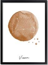DesignClaud Sterrenbeeld poster Vissen – Bruin A3 + Fotolijst zwart (29,7x42cm)