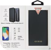 Guess boekmodel hoesje - zwart - voor iPhone XR - inclusief GUESS tempered glass pack