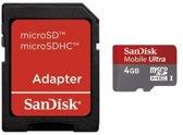 Sandisk Ultra Micro SD kaart 4 GB met adapter