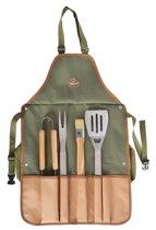 Esschert design BBQ schort met tools / BBQ schort met opbergvakken - griltang - grilvork - spatel inclusief flessenopener - BBQ kwast