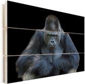 Een Gorilla kijkt indrukwekkend in de camera Vurenhout met planken 40x30 cm - klein - Foto print op Hout (Wanddecoratie)