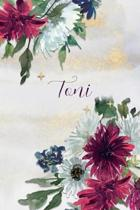 Toni: Personalized Journal Gift Idea for Women (Burgundy and White Mums)