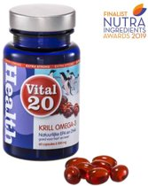 Vital20 Krill Olie Omega-3 Extra Strong 500mg - Natuurlijk beter opneembare Omega-3 (60 softgels) - Visolie