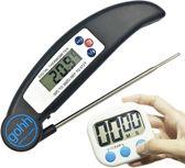 Set van 1 Zwarte Digitale Kookthermometer - Barbecuethermometer met Inklapbare RVS Sonde - Bereik van -50°C tot 300°C  en 1 Digitale Kookwekker met Groot Display - Gouda Select
