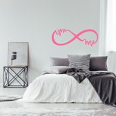 Muursticker Infinity You And Me -  Roze -  80 x 30 cm  - Muursticker4Sale