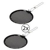 Barbecue en grill pizza pan - diameter 30 cm - met handvat - set van 2 stuks