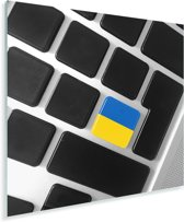 De Oekraïense vlag op een toetsenbord Plexiglas 20x20 cm - klein - Foto print op Glas (Plexiglas wanddecoratie)