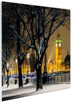 De Big Ben in de winter Glas 90x60 cm - Foto print op Glas (Plexiglas wanddecoratie)