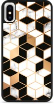 iPhone X Hardcase hoesje Black-white-gold Marble