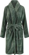 Unisex badjas fleece - sjaalkraag - olijfgroen - maat S/M
