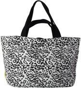 Mycha Ibiza – leopard tas - XL shopper - Strandtas - tas met rits - grijs– Ibiza – 100% katoen