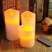 LED kaarsen met bewegende vlam en afstandsbediening, 3 stuks