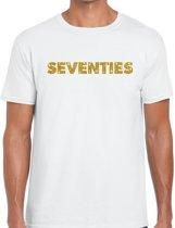 Seventies goud glitter tekst t-shirt wit heren - Jaren 70 kleding L