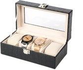 Luxe Lederen Horloge Koffer 4 Vakken