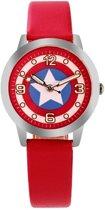 Captain america - kinder horloge - ster - rood - 30 mm - I-deLuxe verpakking