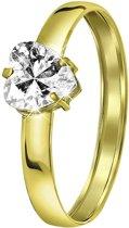 Lucardi - 14 Karaat gouden damesring hart met zirkonia
