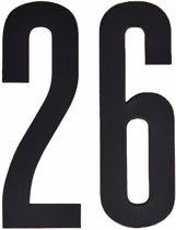 Cijfer sticker 26 zwart 10 cm