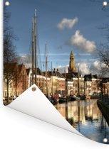 De grachten van de Nederlandse stad Groningen Tuinposter 120x160 cm - Tuindoek / Buitencanvas / Schilderijen voor buiten (tuin decoratie) XXL / Groot formaat!