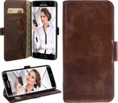 Echt Leer cover - Samsung Galaxy S6 Edge hoesje - Lederen Book Case Bruin - WalletCase (Chesterfield)