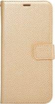 Mobigear Litchi Wallet Book Case Goud voor Samsung Galaxy S6 Edge Plus