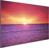 Zonsondergang over paarse zee Aluminium 90x60 cm - Foto print op Aluminium (metaal wanddecoratie)