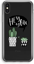 iPhone X Transparant Hoesje (Soft) - Hey you cactus