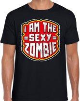 Halloween -  Halloween I am the sexy zombie verkleed t-shirt zwart voor heren - horror shirt / kleding / kostuum M