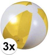 3x Opblaasbare strandbal geel - 30 cm - strandballen