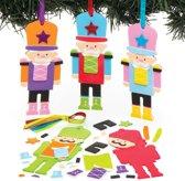 Mix & match decoratiesets notenkraker-soldaat (6 stuks per verpakking) Kerstknutselwerkjes en -decoraties voor kinderen