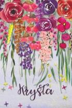 Krysta: Personalized Lined Journal - Colorful Floral Waterfall (Customized Name Gifts)