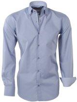 Brentford and Son - Heren Overhemd - Ongetailleerd - Design in de kraag - Grijs
