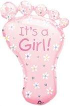 Roze Voet Ballon Geboorte Meisje