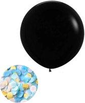 Gender reveal ballon jongen - blauw met gouden confetti - 91 cm