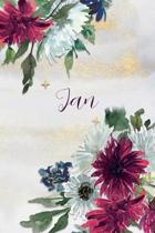Jan: Personalized Journal Gift Idea for Women (Burgundy and White Mums)