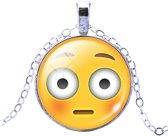 Fako Bijoux® - Ketting - Cabochon - Emoji - Verbaasd
