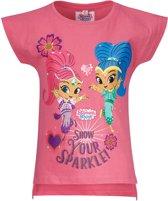 Shimmer-and-Shine T-shirt met korte mouw - fuchsia - Maat 104