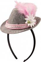 Oktoberfest - Tiara met tiroler hoedje roze