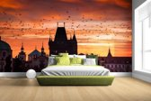Fotobehang vinyl - Ochtend in Praag breedte 380 cm x hoogte 265 cm - Foto print op behang (in 7 formaten beschikbaar)