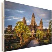 Zonsondergang in Angkor Wat Vurenhout met planken 90x60 cm - Foto print op Hout (Wanddecoratie)