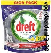 Dreft Platinum - All in One Lemon voordeeldeal 270 vaatwastabletten / jaardoos / megadeal / voordeeldoos