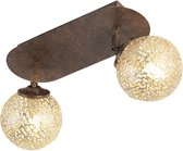 Paul Neuhaus Kreta - Plafondlamp - 2 lichts - L 390 mm - Roestbruin