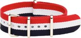 Premium Red White Blue - Nato strap 16mm - Stripe - Horlogeband Rood Wit Blauw + Luxe pouch