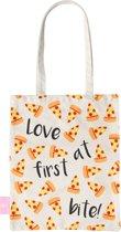 BEACHLANE - Katoenen tasje - Canvas Tote Bag Shopper - Pizza print - Schoudertas / Boodschappen tas
