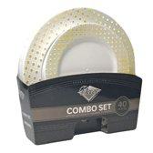 Deluxedisposables -Luxe wegwerp eenmalig plastic tafel Serviesset voor 20 Personen-Wit met Goud Boord- 40 stuks