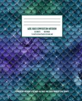 Blue Green Mermaid Dragon Scale Composition Notebook