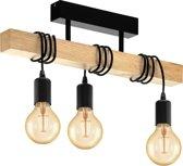 EGLO Townshend - plafonniere - 3-lichts - zwart/eikenhout